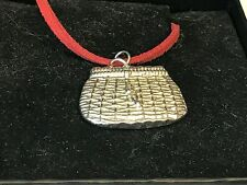"Fishing Basket TG22 English Pewter On 18"" Red Cord Necklace"