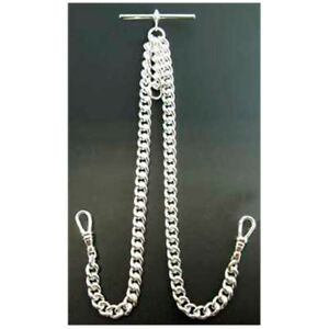Stunning High Quality Double Albert Silver Plated 925 Pocket Watch Chain Hvy.