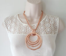 """Gorgeous 18"""" long ROSE gold tone layered mesh chain & big round pendant necklace"""