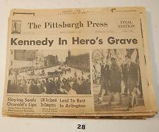 """Kennedy In Hero's Grave""""  Pittsburgh Press Nov. 25, 1963"""