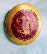 Plaque fine rouge foncé joliment dorée style chinois 18eme prêt a accrocher.