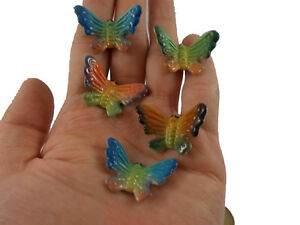 5 pc Butterflies Ceramic Butterfly Figurines Miniature Decorate Home Animals