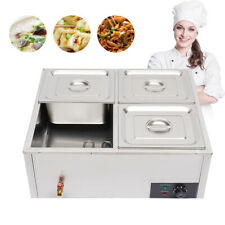 Commercial Food Warmer Bain Marie Steam Table Countertop 4 Pots Soup Station