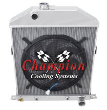 """3 Row Perf Champion Radiator W/ 16"""" Fan for 1942 - 1948 Ford Coupe Chevy Config"""