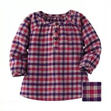 UNIQLO Toddler Girl Children Flannel Checked Long Sleeve Shirt / Top 100% Cotton