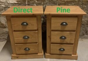 X2 (PAIR) AYLESBURY PINE 3 DRAWER BEDSIDES OLD ANTIQUE/RUSTIC CUPS NO FLAT PACK