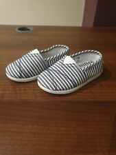 Mothercare Baby Boys Canvas Shoes White & Blue Striped UK 5 / EUR 21.5