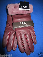 NWT UGG® Australia_ Emilion Burgundy Leather Smart  Glove with Shearling Cuff _M