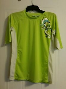 KANU SURF stretch shirt lime green with white and emblem on shoulder juniors XL