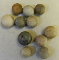 #11640m Vintage Group Of Old Clay, Stone or China Shooter Marbles .79 to 1.04 In