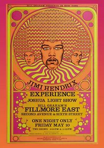 Jimi Hendrix Experience Fillmore Concert Poster Reproduction  60s Psychedelic