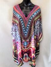 Loose Fitting Sheer Embellished Kaftan Digital Print Size 16-18-20-22-24-26