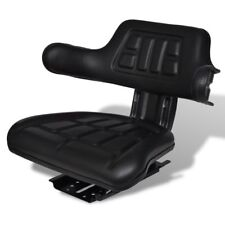 Tractor Seat Backrest Base & Sliding Track Compact Mower Padded Seating Black