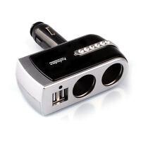 2 USB Charger+2 Socket Car New Cigarette Lighter Extender Splitter Silver
