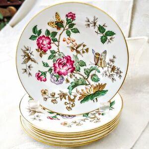 "7 piece Set Vintage Wedgwood Charnwood Bread Plates 6"" Flowers & Butterflies"