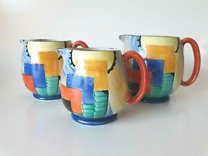 ART DECO GRAYS POTTERY CUBIST hand painted jugs Susie Cooper 8071