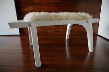 Minimaliste chêne blanc bois indoor bench-rembourré scandinav en peau de mouton - 4