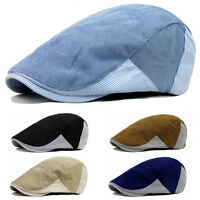 Men's Plain Cotton Stripe Peaked Hat Golf Driving Flat Beret Newsboy Sports Cap