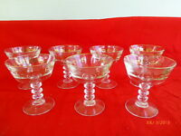Vintage Martini Dessert Cups Wine Etched Bubbled Stems Gold Trim Leaf Lot of 7