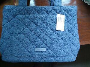 Nwt Vera Bradley Small Vera Tote Shoulder Bag Thunder Blue Fleece Christmas Gift