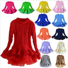 Fashion Kids Girls organza Sweater skirt Long sleeve Sweater TOPS princess dress