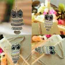 Vintage Women Bronze Owl Pendant Fashion long Chain Sweater Necklace Jewelry