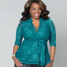 Women Sexy-V Casual Shirts Lace Slim Fit T-Shirts Tops Blouses Plus Size XL-5XL
