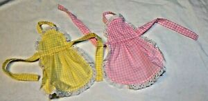 2 Bottle Aprons Gingham Plaid  yellow and pink  Handcrafted New