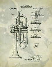 Musical Instruments Patent Poster Art Print Trumpet Band Sheet Music 11x14 PAT80