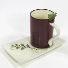 Grasslands Road HOLLY BERRY 6oz Cup & Saucer Plate Set 2Pc Red Green Christmas
