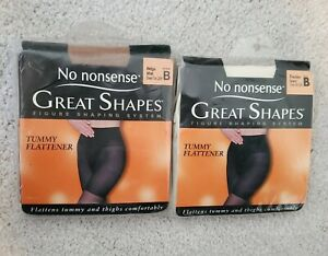 No Nonsense Great Shapes Size B Pantyhose Sheer Toe Tummy Flattener 2 pair New