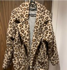 topshop teddy borg coat size 14 leopard print oversized warm winter animal