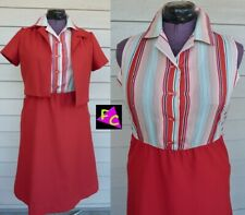 60s 70s 2 Piece Maroon Amber Polyester Striped suit 40 Xl Funk dress Brown Disco