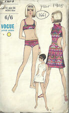 1960s Original Vintage Vogue Sewing Pattern B34 Cover-up Dress Swim Suit