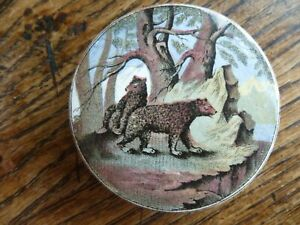 A SMALL SIZE VICTORIAN POLYCHROME POT LID BEARS ON A ROCK