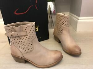 Diba Beige Nude Leather Cut Out Ankle Boots Size 3.5Uk  6.5US New RRP £80