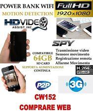 SPY Camera Spia WIFI + SD16 GB TELECAMERA MICRO  POWER BANK FULL HD MOTION CW152