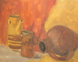 Expressionist oil painting still life with pitcher and jugs