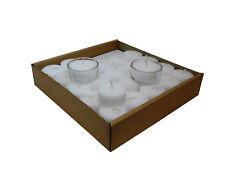 50 Teelichter Weiß ohne Hülle Rohlinge Nachfüllpack 4 Stunden inkl. 2 Glashalter
