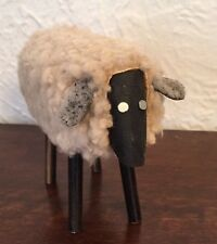 """Vintage Putz Style Vintage Wooly Sheep Folk Art 5.5"""" By 5"""" HAND MADE"""