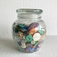 Vintage Button Jar Glass Apothecary Jar Mixed Lot Buttons Sewing Crafts