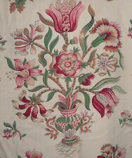Antique Vtg. Provincial Floral Tulip Tudor Rose Urn Cotton Fabric~Pink Red Green