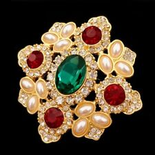 Byzantine Vintage Cross Style Imitated Pearls Green Stone Art Deco Brooches Gold