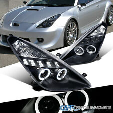 Glossy Piano Black Toyota 2000-2005 Celica Tinted LED Projector Headlights Lamps