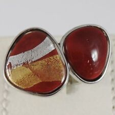 RING ANTICA MURRINA VENEZIA WITH MURANO GLASS RED GREY AND BEIGE AN200A11