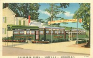 1942 Rhinebeck Diner New York route 9 Teich Roadside Linen Advertising Postcard