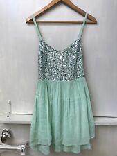 Hollister Green Silver Sequin Ladderback Spaghetti Strap Dress Size L NWT