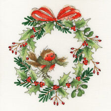 BOTHY THREADS ROBIN WREATH - CHRISTMAS COUNTED CROSS STITCH KIT XX14