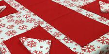 Flato 100% Cotton Winter Snow flakes Design Tablecloth 52 x 70 inch, Red & White