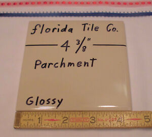 """1 pc. Glossy Ceramic Tile *Parchment - Tan - Light Brown* 4-3/8"""" by Florida Co."""